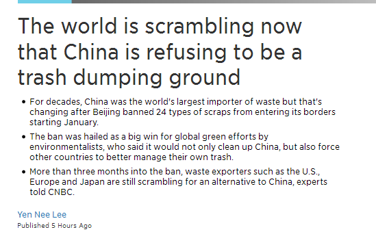 China rejects foreign wastes