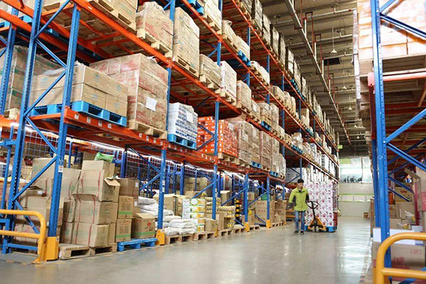 wood pallets in food warehouse