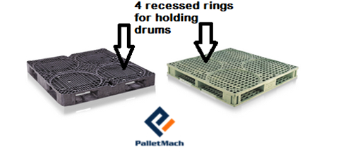 drum plastic pallets with 4 recessed rings each